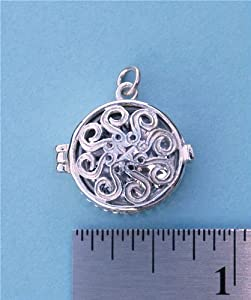 Vintage Sterling Silver Swirl Compass Locket and 19.5 inch Silver Chain