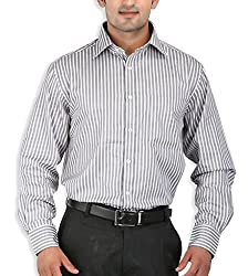SPEAK Grey Striped Cotton Mens Formal Shirt
