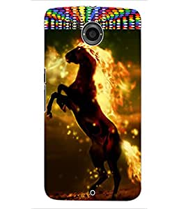 ColourCraft Flaming Horse Design Back Case Cover for MOTOROLA GOOGLE NEXUS 6