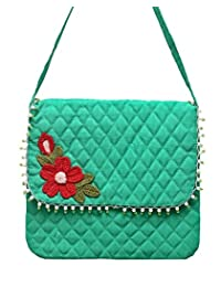 Seher Handicraft Green Sling Bag With Crochet Work (27.5 Cm X 3 Cm X 25 Cm, Green)