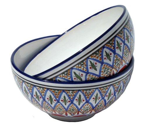 Le Souk Ceramique Medium Deep Serve Bowls, Set Of 2, Tabarka Design