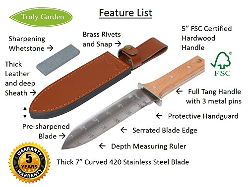 Hori Hori Garden Knife With Extra Sharp Blade And Thick Leather Sheath    Garden And Camping Knife, ...