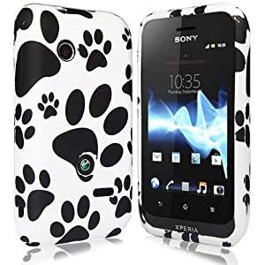 JJOnline Case Cover Skin For Sony Ericsson Xperia Tipo - Black White Paw Print Series Silicone Rubber Gel