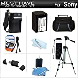 Must Have Accessory Kit For Sony HDR-CX200, HDR-CX260V, HDR-PJ670, HDRPJ670/B, FDR-AX33, FDRAX33/B High Definition Handycam Camcorder Includes Replacement (2300Mah) NP-FV70 Battery + Ac / DC Charger + Deluxe Case + Tripod + USB 2.0 SD Reader + Much More