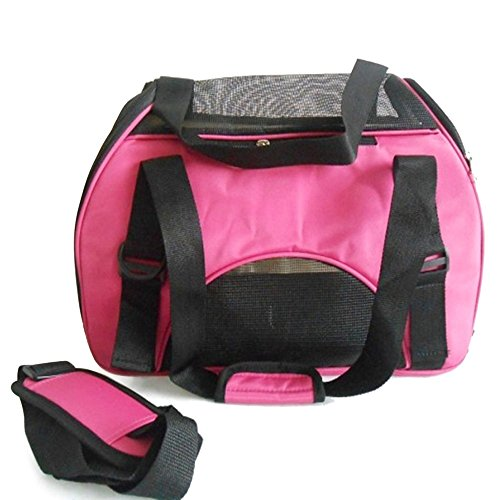 Petforu Pet Dog Cat Portable Comfortable Soft Sided Waterproof Carrier Should Bag Handbag-Small (Pink, Medium)