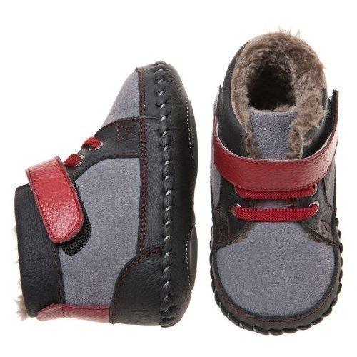 Little Blue Lamb - Chaussures premiers pas cuir souple garçon | Montantes fourrées gris rouge Taille: 6-12 mois