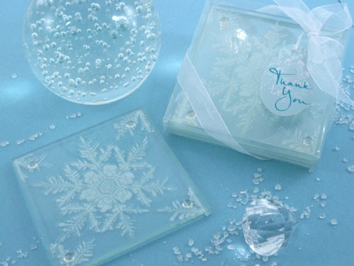 Shimmering Snow Crystal Frosted Snowflake Glass Coasters (Set of 2, 25 Pack) - Winter Seasonal Wedding and Party Favor Keepsake Gift Idea