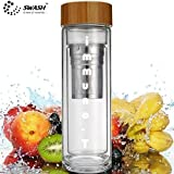 SWASH Immuno - T : Tea / Coffee Cum Fruit Infuser Glass Bottle With Double Glass Wall, Natural Bamboo Lid, High Corrosion Resistance Stainless Steel Strainer (SUS304 Food Grade), Steel Infuser (SUS304 Food Grade) And A Complimentary Neoprene Sleeve - Perf