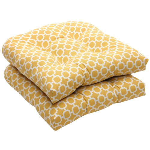 Pillow Perfect Indoor/Outdoor Yellow/White Geometric Wicker Seat Cushions, 2-Pack image