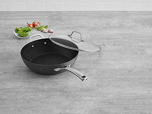 """Calphalon 1943289 Classic Nonstick Jumbo Fryer Omelet Pan with Cover, 12"""", Grey"""