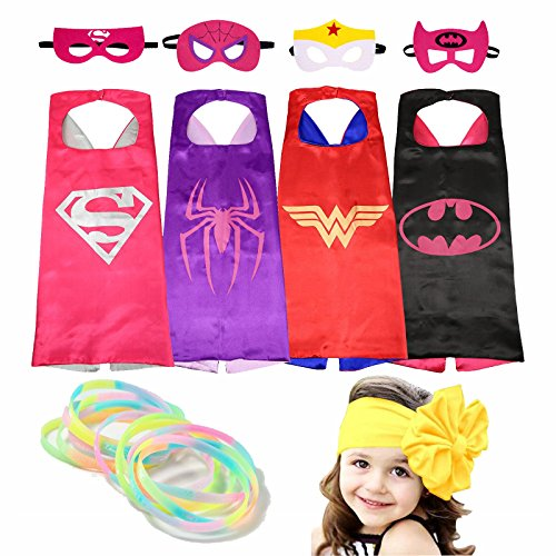 Superhero-Costumes-Girl-Cape-and-Mask-with-Glow-Bracelets-and-HeadBand