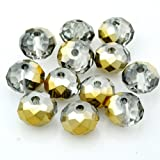 Zacoo 72pcs Cut Faceted Crystal Rondelle Fashion Jewelry Bead Half Gold Effects 8x6mm Gray 1.5mm Hole Size CR230
