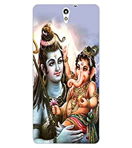 ColourCraft Lord Shiva With Ganesha Design Back Case Cover for SONY XPERIA C5 ULTRA DUAL