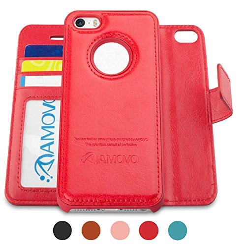 AMOVO iPhone 6手帳ケース iPhone 6s 手帳ケース ストラップ付き 金属吸着可能 可分離ケース手帳型 (レッド)