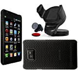 Wayzon Clip On Protection Hybrid Armour Back Case Cover Skin Pouch Shell Holster Black Mesh Net Design + 360 Rotation In Car Windscreen Windshield Dashboard Suction Mount Dock Cradle Holder For Samsung i9100 Galaxy SII S2 Phone