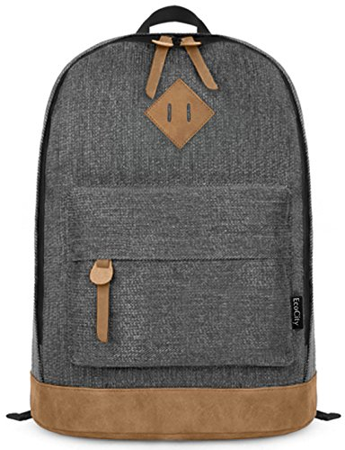 EcoCity - Zaino in tela classico ideale per scuola o computer, grigio scuro