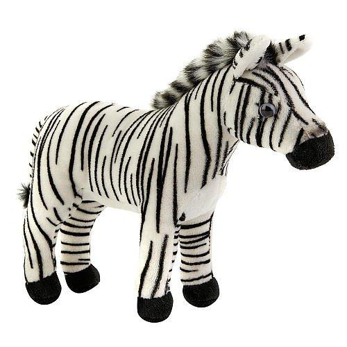FAO Schwarz 9 inch Plush Miniature Zebra - White and Black - 1