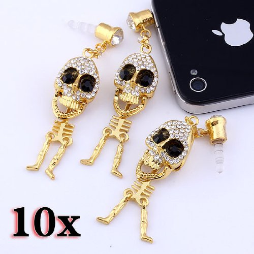 Top Plaza 1/5/10 Pcs 3.5Mm Crystal Metal Punk Skull Skeleton Anti Dust Plug Stopper For Iphone, Ipad, Samsung, Htc, Ipod (10 Pcs)