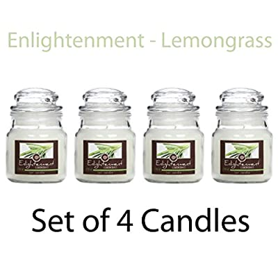 Hosley Candle Company Set of 4 Lemongrass (Enlightenment) Jar Candle - 85g each. We Hand Pour Our Candles Using a High Quality Wax Blends with Essential Oil Infused Fragrance Ingredients to Create a Highly Fragranced Aroma. Ideal for Spa, Aromatherapy and