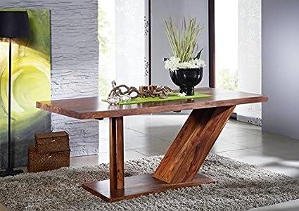 Sheesham massiv Holz Möbel lackiert Säulentisch 198x100 Palisander massiv Möbel Massivholz walnuss Duke #133
