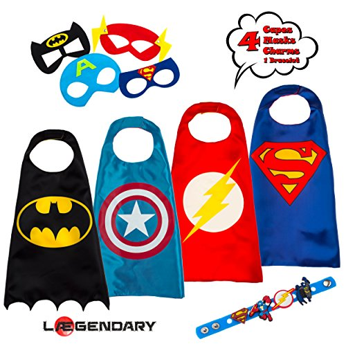 LAEGENDARY Superhero Costumes for Kids - 4 Capes and Masks - Glow Captain America