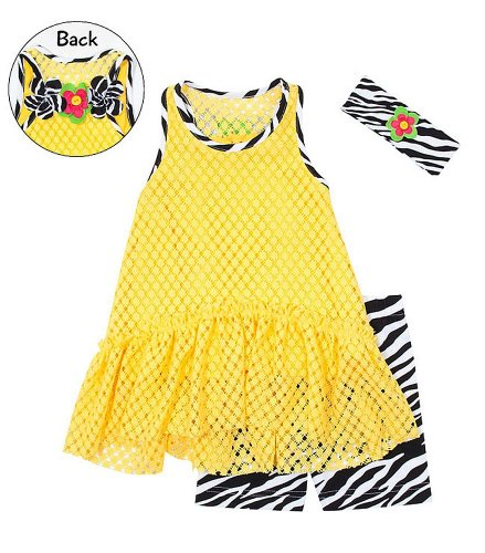Peaches N Cream Girls 2T-4T Yellow Lace Tunic Zebra Knit Shorts Headband 3Pc Set, 2T front-1046574