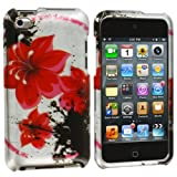 Red / Black Flower Chain Design Crystal Hard Skin Case Cover New for Apple Ipod Touch iTouch 4th Generation Gen 4g 4 8gb 32gb 64gb - Electromaster(TM) Brand