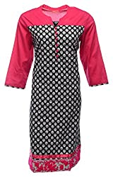 Zele Women's Cotton Straight Kurti (Z0005 FLWR_Multi-Colour_Large)