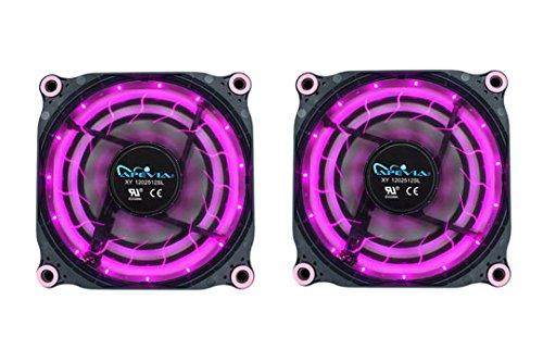 APEVIA 212L-DPP 120mm Silent Black Case Fan with 15 x Purple/Pink LEDs & 8 x Anti-Vibration Rubber Pads (2 Pk) - Best Value