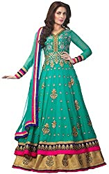 Clickedia Women & Girls Embroidered Gown Style Semi-stitched green Floor length Georgette salwaar suit Anarkali dress Material