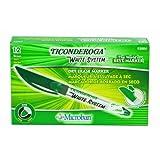 Ticonderoga White System Dry Erase Markers, Fine Tip, Green, One Dozen (93004)