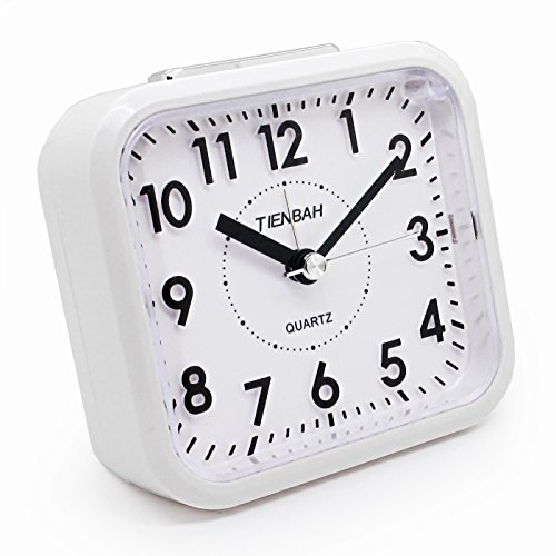 JCC Silent Sweep Second Hand Analog Bedside Snooze Battery-operated Quartz Alarm Clock (White)