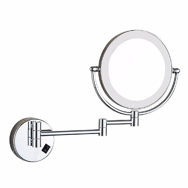 HQLCX bagno trucco specchio, con le luci, muro a piegare telescopico specchio, bagno doppia lente d'ingrandimento specchio