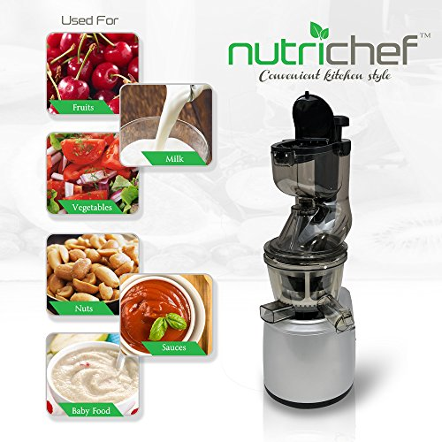 NutriChef PKSJ40 Countertop Masticating Slow Juicer Juice and Drink Maker, Stainless Steel Home ...