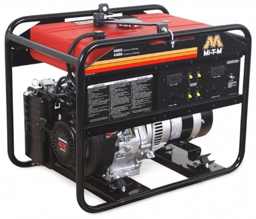 Mi-T-M Gen-5000-0Mho Portable Generator With 270Cc Honda Ohv Engine, 5000W, Red/Black
