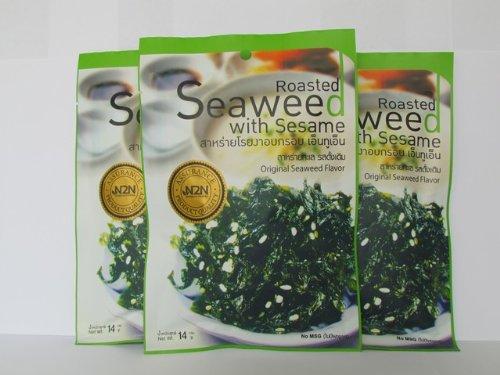 100% Roasted Seaweed With Sesame / Seaweed Snack 14 Gms (Pack Of 3) - N2N