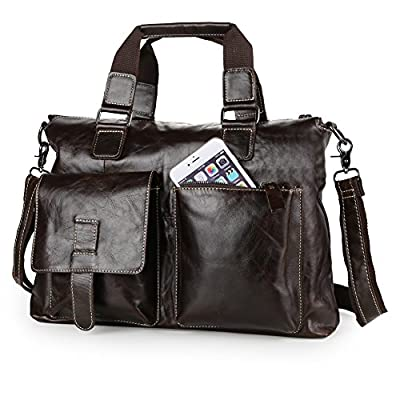 Koolertron Men's SOFT Cowboy Genuine Leather Messenger Bag Shoulder Briefcase Handbag Laptop Bag from Koolertron