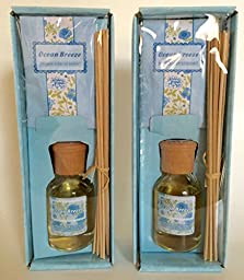 (2 Bottles /Set) Mood Therapy ® Home Fragrance Reed Diffuser Scented Refill Oil -- Ocean Breeze (2 x 3.4 oz)+ 20 Replacemtn Sticks (9\
