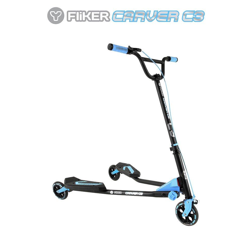 Y-Volution Y Fliker Carver C3 Scooter - Matte Black with Blue Pads