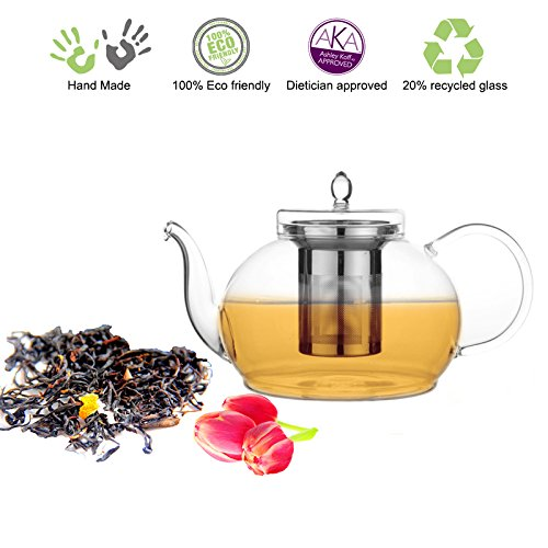 Buy Bargain Tea Beyond Earl Grey Tea Set Glass Teapot Polo 45 Oz/1330ml and Loose Tea 100% Natural Earl Grey Premium 100g Black Tea Set