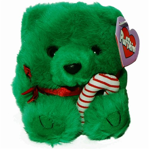 JIngles the Green Christmas Teddy Bear - Puffkins Bean Bag Plush