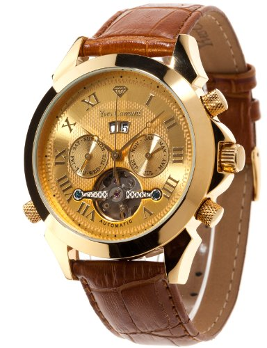 Yves Camani Navigator Men's Automatic Watch with Gold Dial Analogue Display and Brown Leather Strap YC1020-A