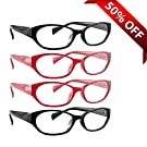Reading Glasses _ Best 4 Pack of Black Readers for Women with 2 Black and 2 Reds _ Always Have Crystal Clear Vision Everywhere You Need It! _ Stylish Look with Sure-Flex Comfort Spring Arms and Dura-Tight Screws _ Industry Leading 180 Day 100% Money-Back Guarantee + 2.25