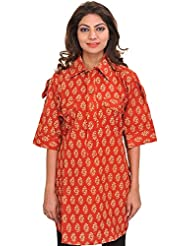 Exotic India Block-Printed Kurti From Pilkhuwa With Front Pockets