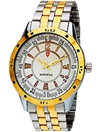 Svviss Bells Original White Dial Gold Steel Analouge Wrist Watch TA-803BlkDStCh