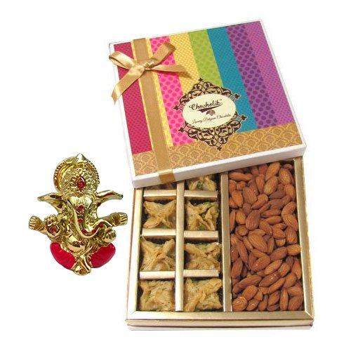 Chocholik Belgium Chocolates - Sinful Treat Of Baklava And Almonds Gift Box With Ganesha Idol - Diwali Gifts