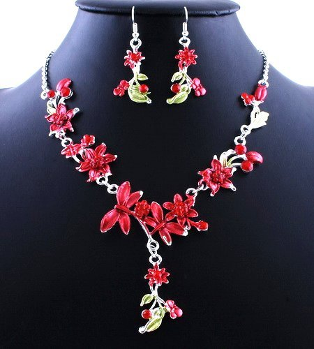 Flower Wedding Party Alloy Acrylic Necklace Earring sets RED