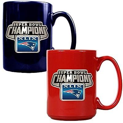NFL New England Patriots Super Bowl Champ Ceramic Mug Set (2-Piece), 15-Ounce, Blue/Red