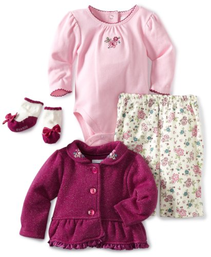Vitamins Baby-Girls Infant Floral 3 Piece Creeper Pant Set, Red, 18 Months
