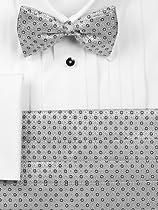 Textured Italian Silk Bow Tie  Cummerbund Set Silver 000